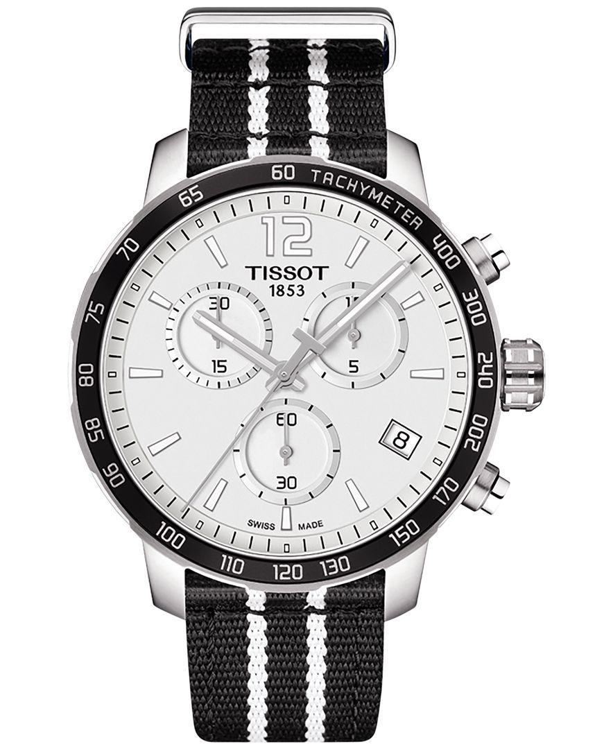 Tissot Unisex Swiss Chronograph San Antonio Spurs Quickster Black and White Strap Watch 42mm T0954171703707