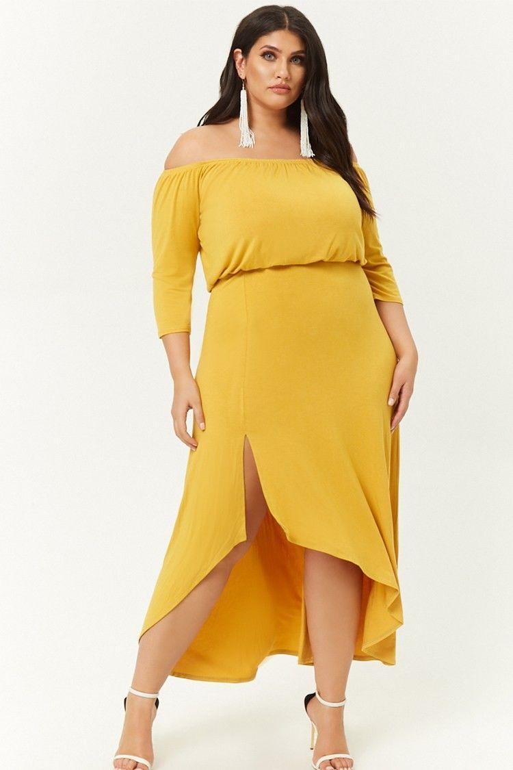 e52f3bd0d8a84 Plus Size Off-the-Shoulder High-Low Dress  32.00  fashion  ootd  outfit   oufits  moda  plussize  dress  dresses  plussizeclothing  plussizedress   curve ...