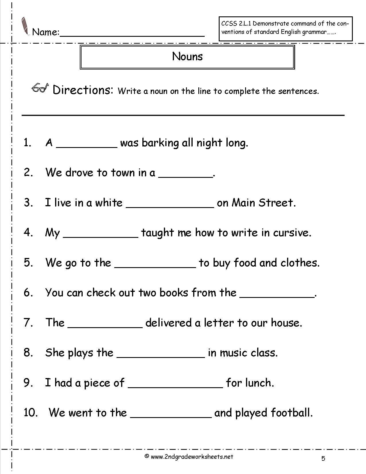 3rd Grade Grammar Worksheets Free Math Worksheet 2nd Grade Grammar  Worksheets Math Workshe…   Nouns worksheet [ 1650 x 1275 Pixel ]