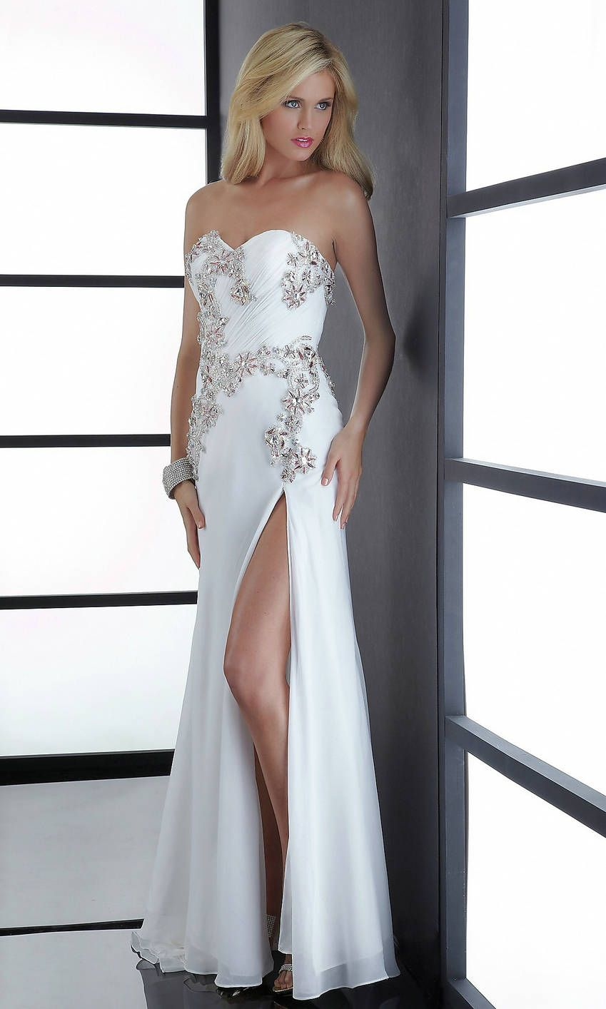 Natural Sequin Beading Side Slit Long Strapless Sweetheart White Prom Dress