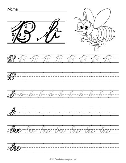 Free Printable Cursive B Worksheet Cursive Writing