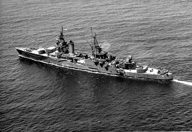 Portland Class Heavy Cruiser Uss Indianapolis In 1943 Having