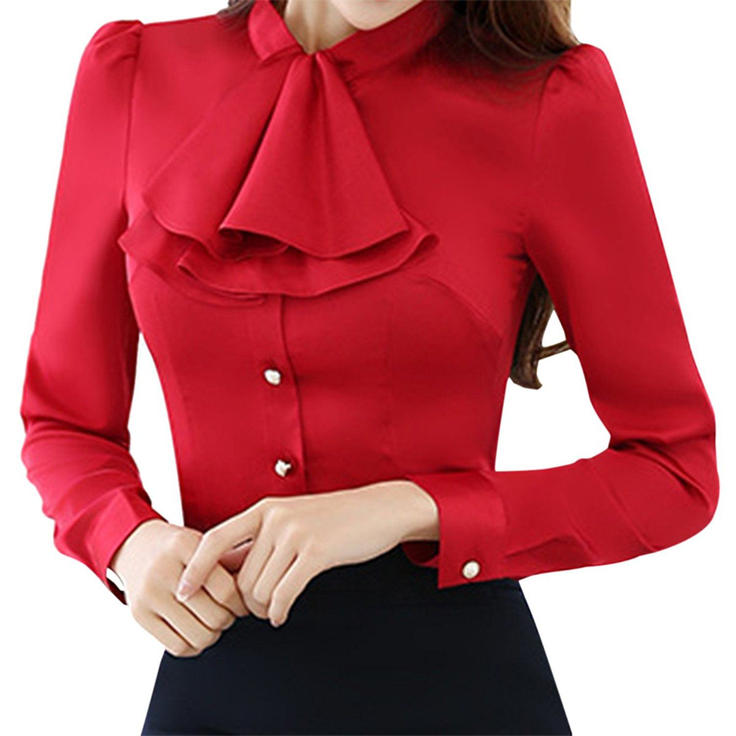 c29b60a96848f4 E.JAN1ST Women s Long Sleeve Shirt Tie Bow Neck Button End Slim Fit Chiffon  Blouse  RedIsMyColor