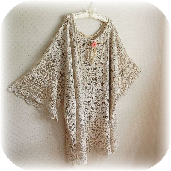 Plus Size Bride Tunic Dress Vintage Crochet Caftan Wedding Shabby Rustic
