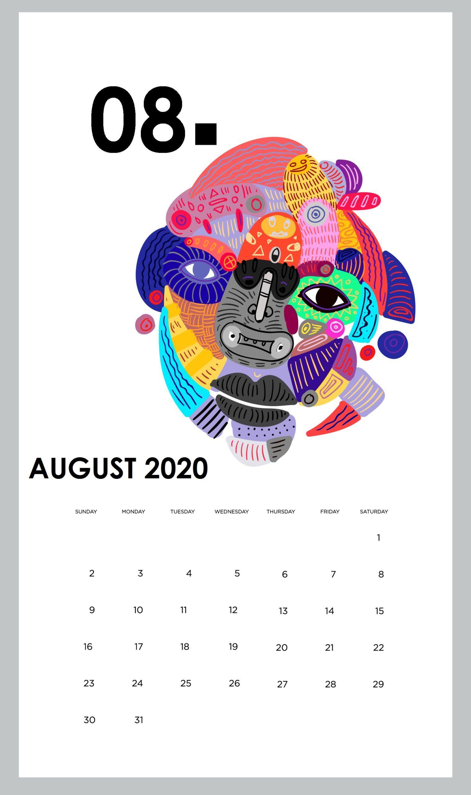 Cute August 2020 Calendar Design in 2020   Calendar design, 2021