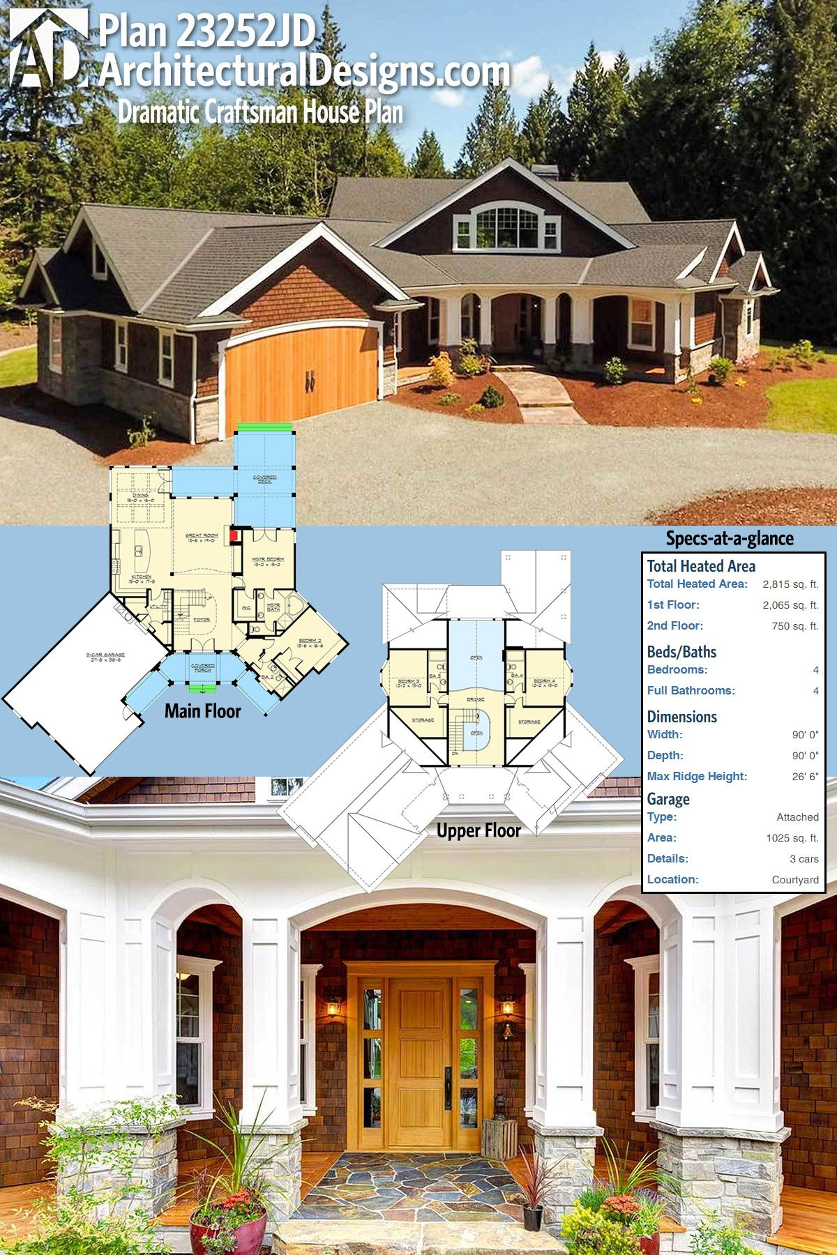 craftsman house plans 3000 sq ft. b21a81637547090c2cf637b49987e796 jpg Plan 23252JD  Dramatic Craftsman House house