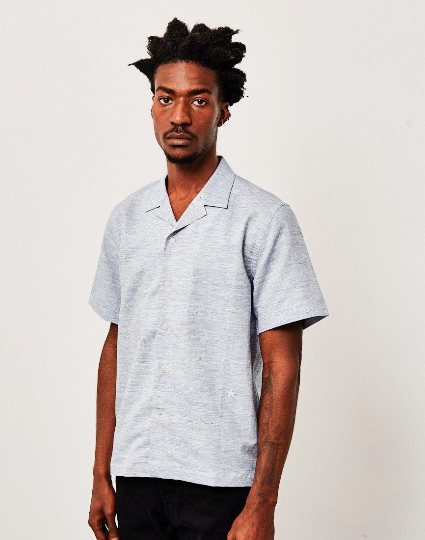 86634f4c92 Wood Wood Brandon Revere Collar Shirt Blue | Menswear | Revere ...