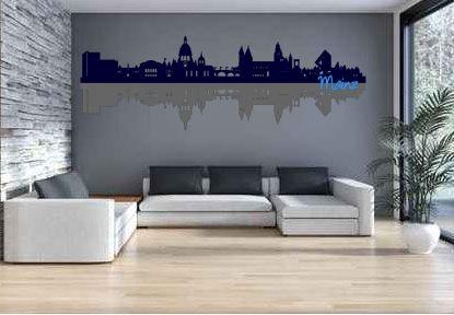 Simple Wandtattoo Skyline Mainz mehrfarbig