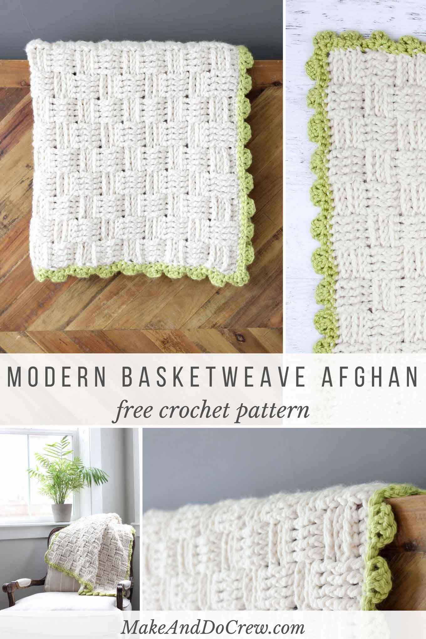 Modern Crochet Basketweave Afghan - Free Pattern