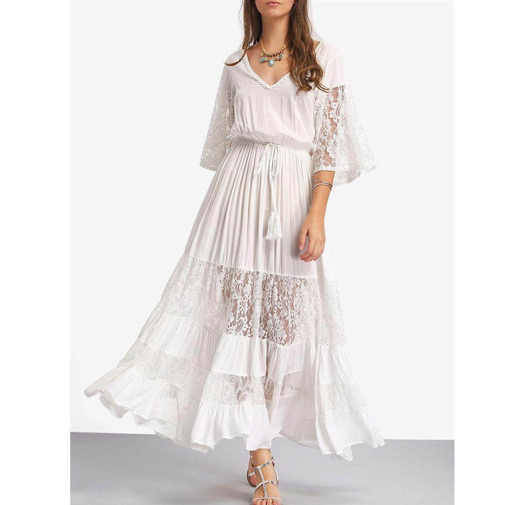 Long sleeve casual wedding dress  ilstile  BOHO Womenus Hafl Sleeve V Neck Lace Hollow Out Casual