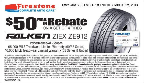 $50 Mail In Rebate On Set Of 4 Tires Falken Ziex ZE912 Coupon - example of a coupon