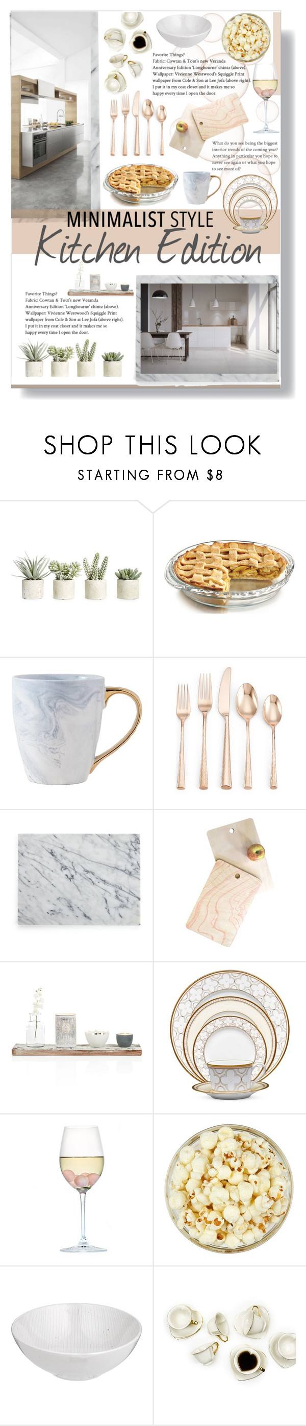 """""""Minimalist Style: Kitchen Edition"""" by lillyluvs ❤ liked on Polyvore featuring interior, interiors, interior design, home, home decor, interior decorating, Allstate Floral, Lenox, Crate and Barrel and DENY Designs"""