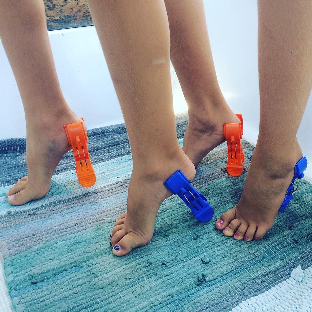 High heel chair for kids - Boat High Heels By The Mcmermaids They Are Beach Chair Clips That We Use To Clip Towels To The Bimini Rails These Kids Get Creative By The_mcmermaids