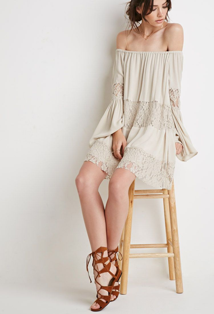Lace-Paneled Off-the-Shoulder Dress | Forever 21 Canada