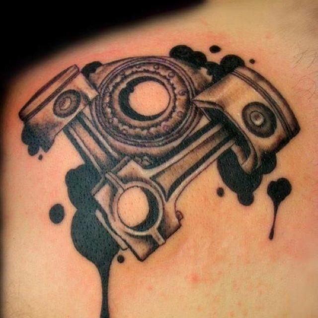 Piston Tattoo Love The Ink Blot Oil Drip Design To This Piston Tattoo Tattoos Gear Tattoo