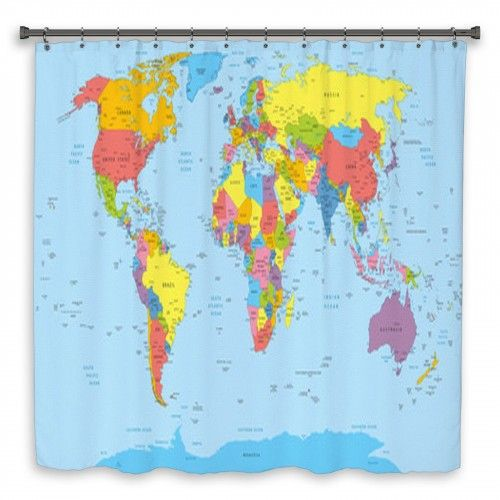 World Map With Countries Country And City Names Custom Size Shower
