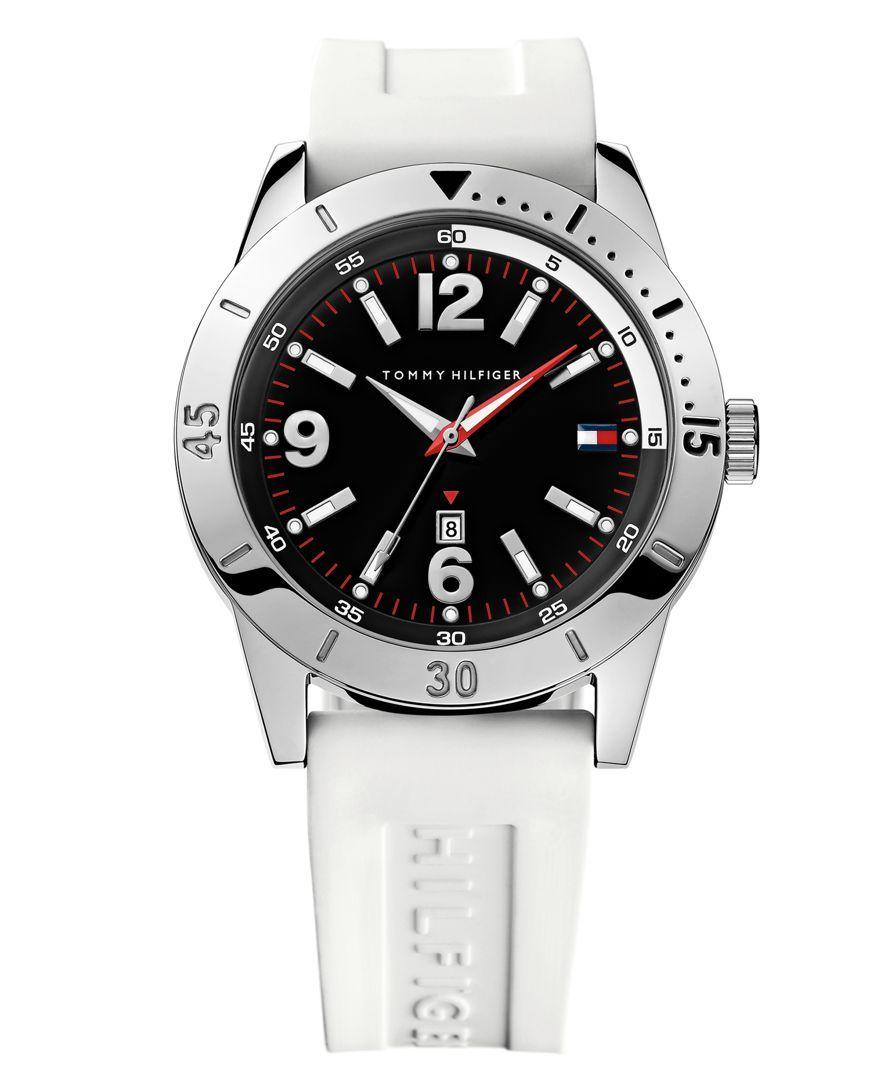 Tommy Hilfiger Watch, Men's White Silicone Strap 42mm 1790867