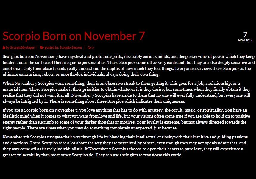 november 7 birthday astrology personality