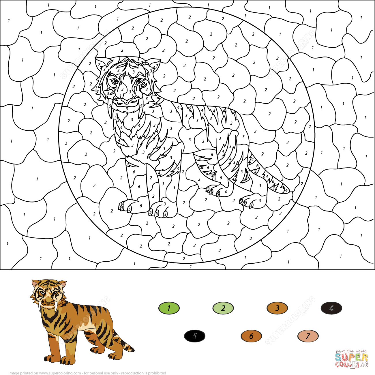 Saber Toothed Tiger Color By Number Free Printable Coloring Pages Coloring Pages Free Printable Coloring Pages Tinkerbell Coloring Pages
