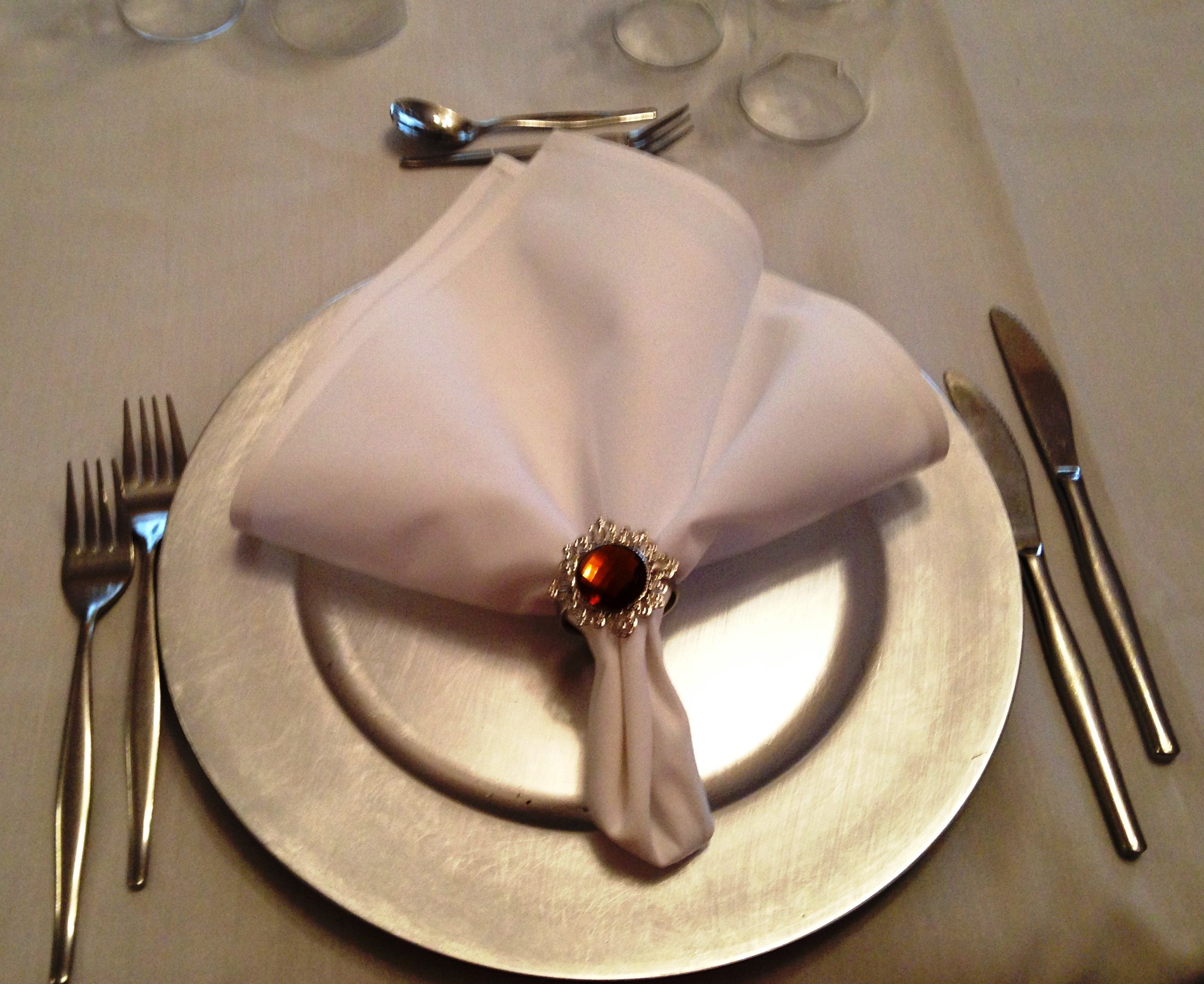 Silver charger plate with gold napkin ring wedding decorations silver charger plate with gold napkin ring wedding decorations heritage castle abbey of the roses qld junglespirit Choice Image