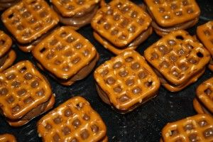 Waffle Pretzels with melted Rolos in the middle.  Freeze for instant snack anytime! Kill your diet!!!!