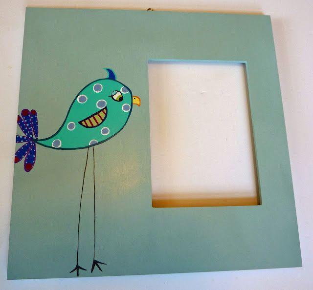 painted bird on wood frame