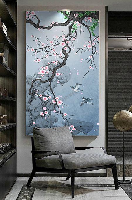 Tapisserie Asiatique Verticale Fond Bleu Cerisier Oiseau Zen - Atelier WYBO en 2020 | Tapisserie ...