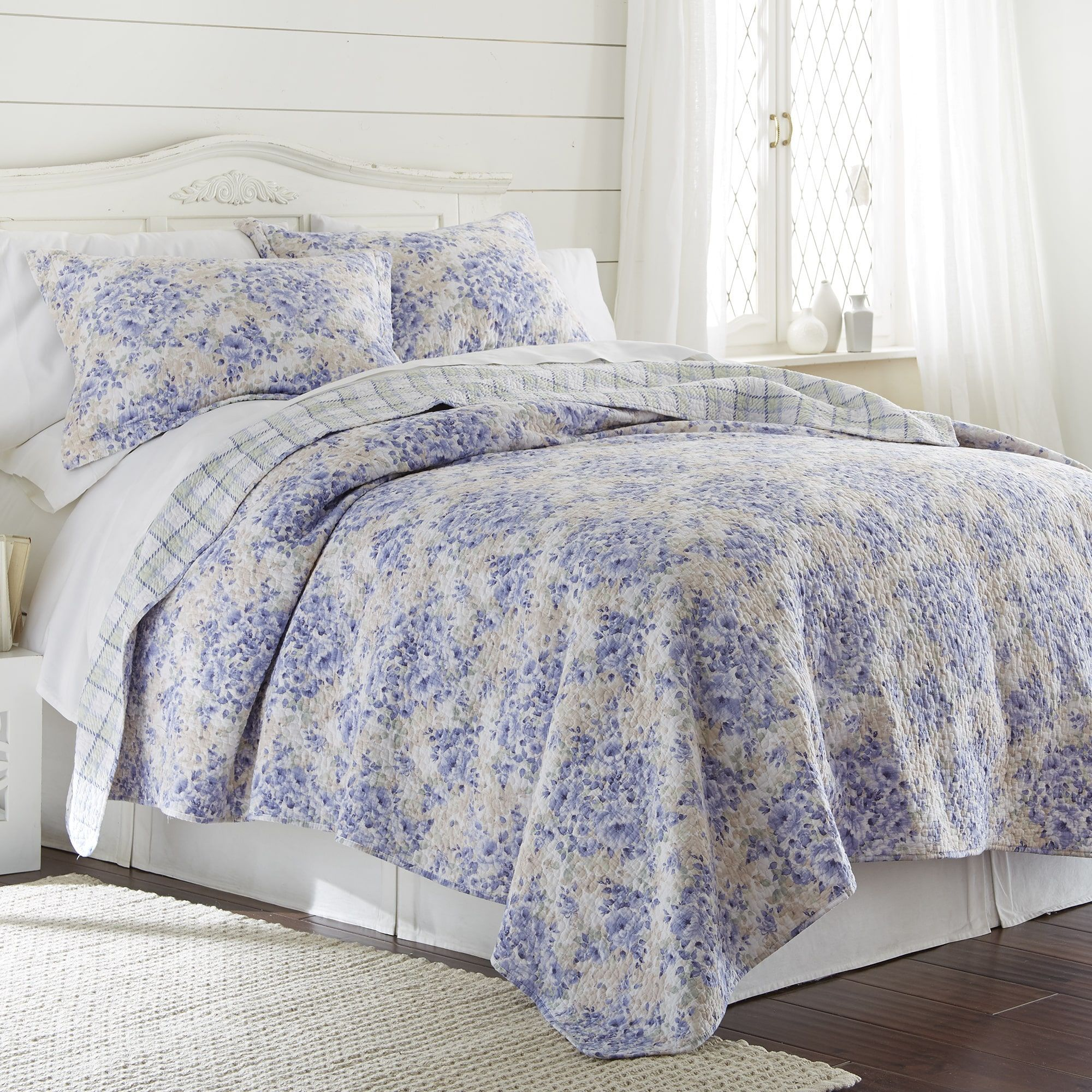 Floral Toile Patchwork Blue Super King Cotton Blend Reversible Duvet Cover Set Kids Teens Home Items Teen Bedding
