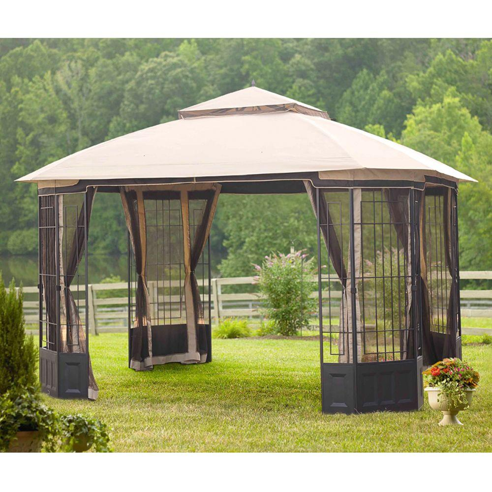 Hampton Bay Bellana 12 Ft X 10 Ft Light Beige Domed Top Gazebo With Mosquito Netting L Gz804pst The Home Depot Canopy Outdoor Gazebo Replacement Canopy 10x10 Gazebo