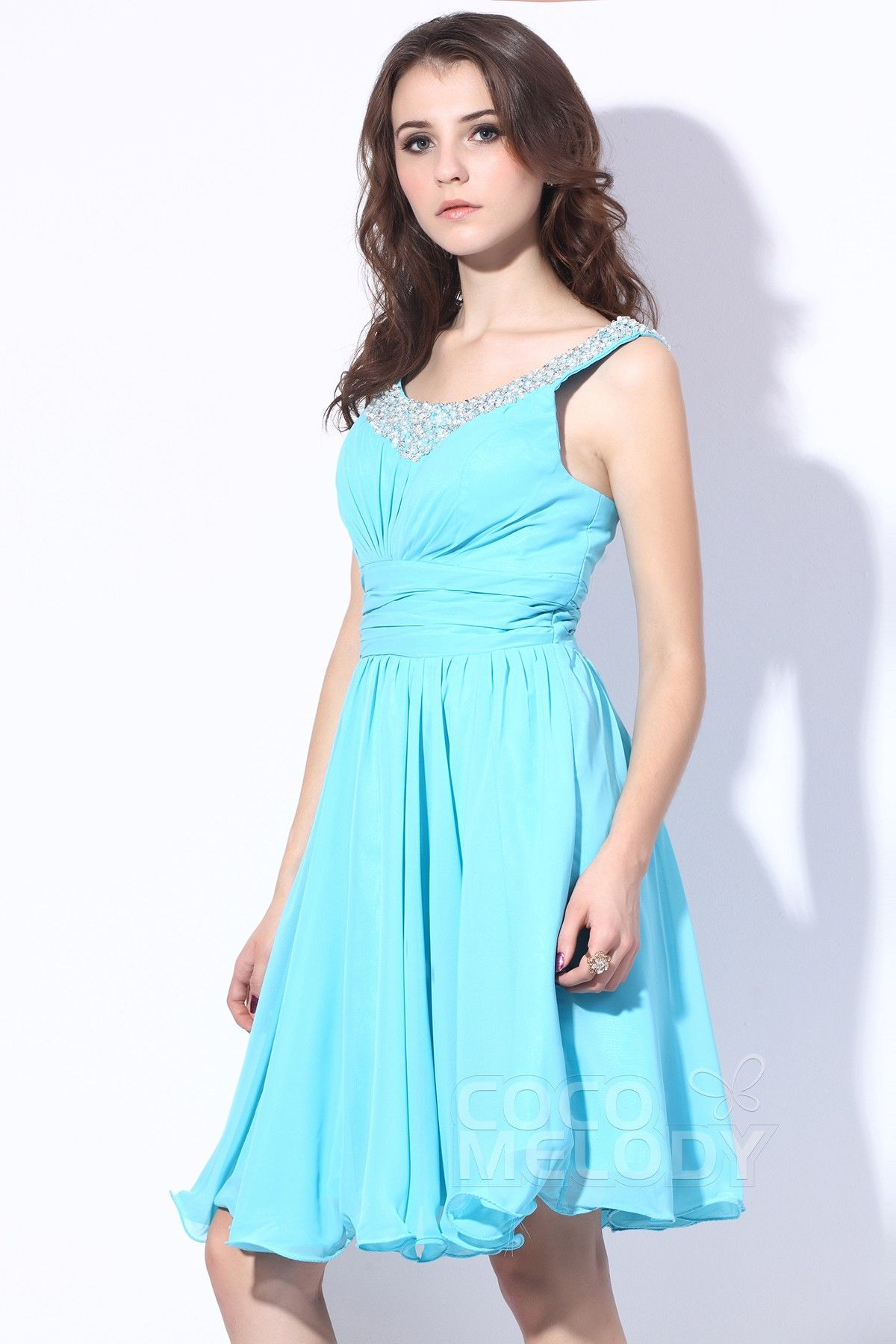 Fancy A-Line Scoop Knee Length Chiffon Sky Blue Party Dress with Beading COZK13005 #bridesmaiddress #cocomelody