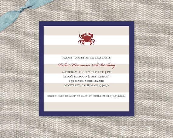 Nautical Stripe invitation with crab