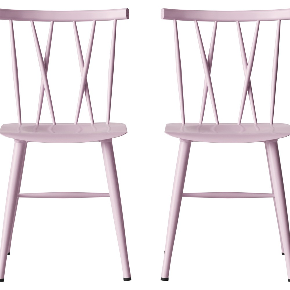 Set Of 2 Becket Metal X Back Dining Chair Pale Blush Project 62
