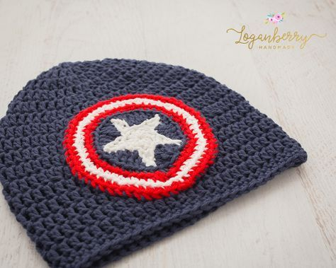 crochet captain america beanie pattern, crochet kids beanie pattern ...