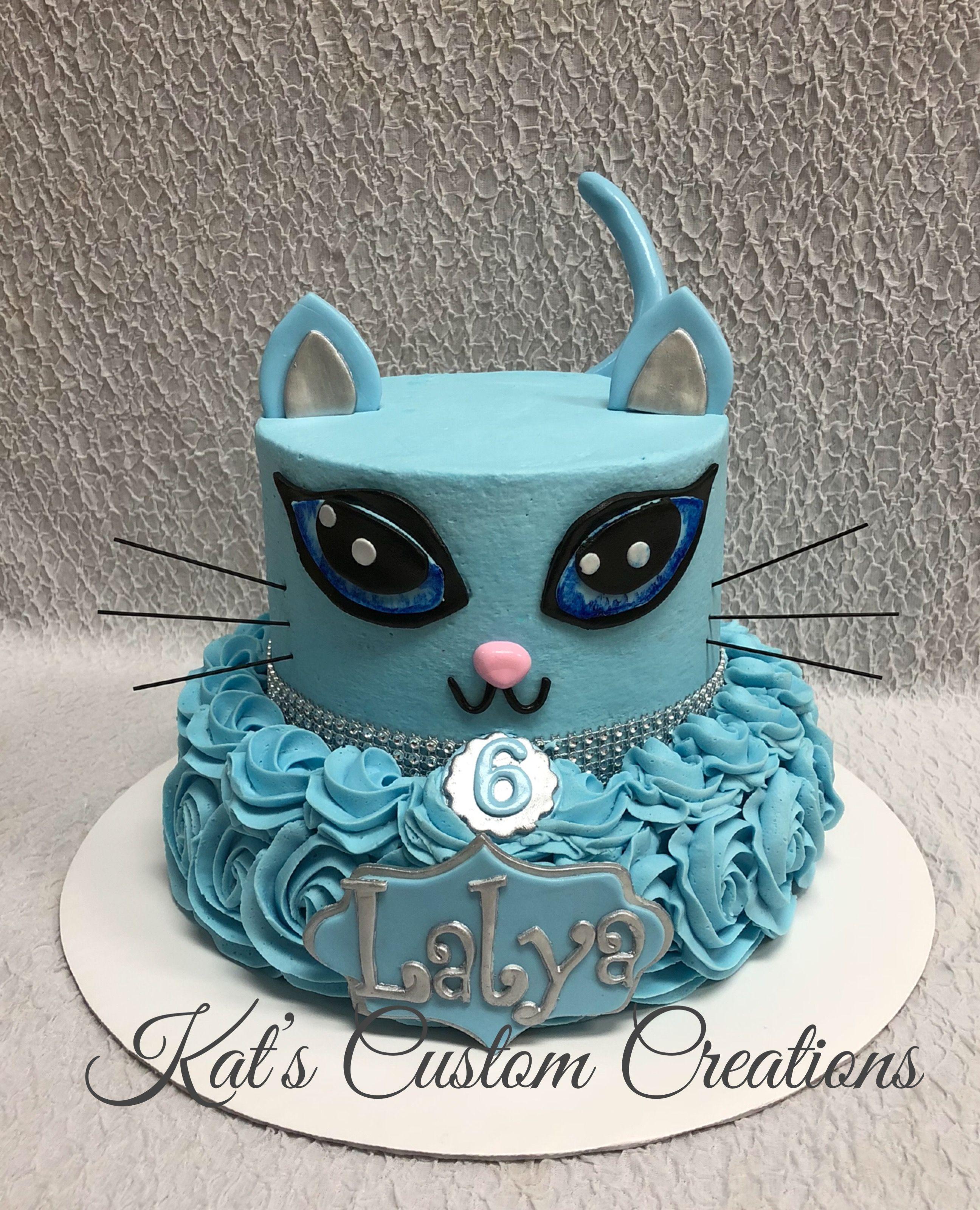 Adorable Blue Cat Cake Cat Cake Kitten Party Birthday Cake Girls
