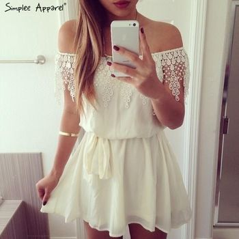 2015 women new white lace chiffon dress off shulder Strapless lace ruffles slash neck short white flowy dress with sashes sexy-in Dresses from Women's Clothing & Accessories on Aliexpress.com | Alibaba Group