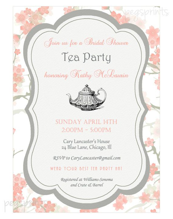 Floral Bridal Shower Tea Party Invitation Printable Bridal Tea