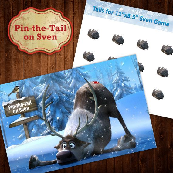 Pin the Tail on Sven Frozen Party Game by DigitalSimplicity (With images) Frozen party Sven