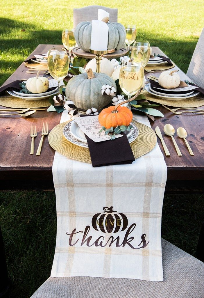 Decorate a Thanksgiving Dinner Table with DIY Decor using a Cricut Maker by Pine…