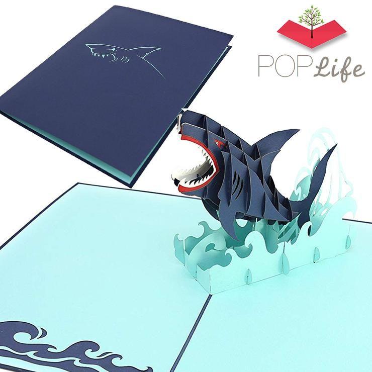Great white shark pop up card in 2020 ocean birthday