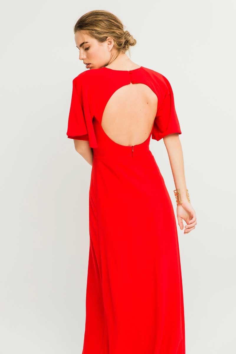 Comprar online vestido largo rojo con espalda abierta y manga corta para  invitada de boda de tarde madrina dama de honor pedida de mano graduacion  de ... 5e2931fbb963