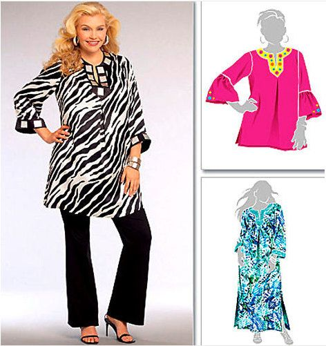 Plus Size TUNIC & CAFTAN Sewing Pattern - XL Easy Caftans Tunics 2 ...