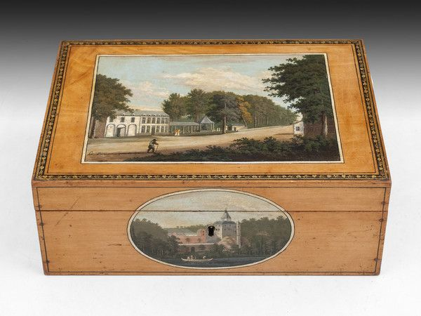 c. 1770 Spa Sewing Box. Spa Sewing box with exquisitely detailed painted scenes on each side of spa towns. These scenes depict various views of Spa in Belgium and have been painted with fine detail. The paintings include: The chateau at Montjardin, Tonnelet, The chateau at Franchimont and Geronstere.