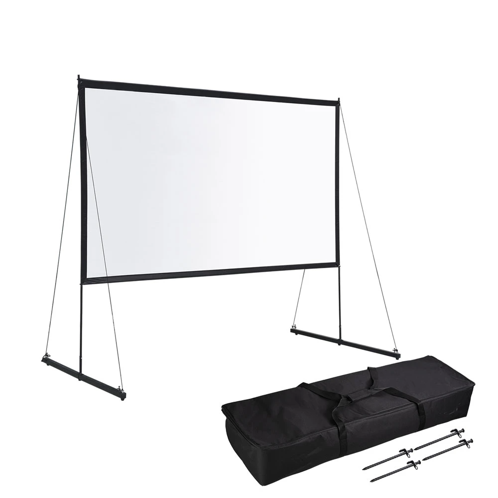Ecom Portable Freestand Front Projector Screen W Legs 100 16 9 Projector Screen Outdoor Projector Screens Outdoor Projector