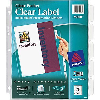 Avery Index Maker Clear Pocket Clear Label Dividers 5 Tab Set