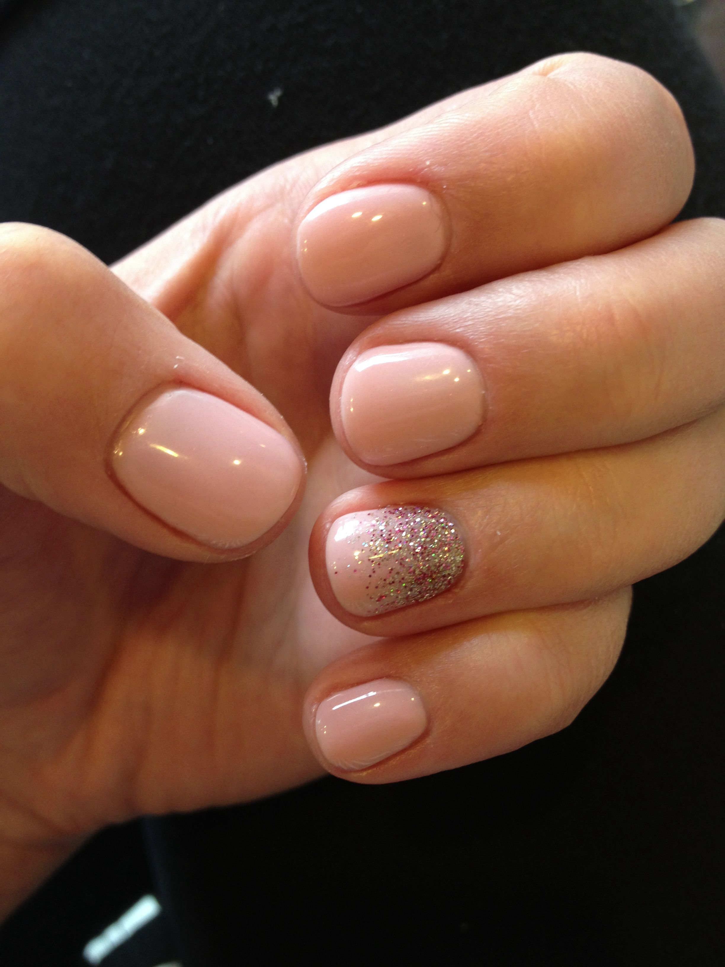 Soft Pink With Silver Gold And Pink Sparkle Accent Nail Pink