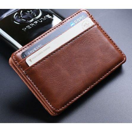 Mens PU Leather Magic Money Clip Slim Wallet ID Credit Card Holder Case Purse US