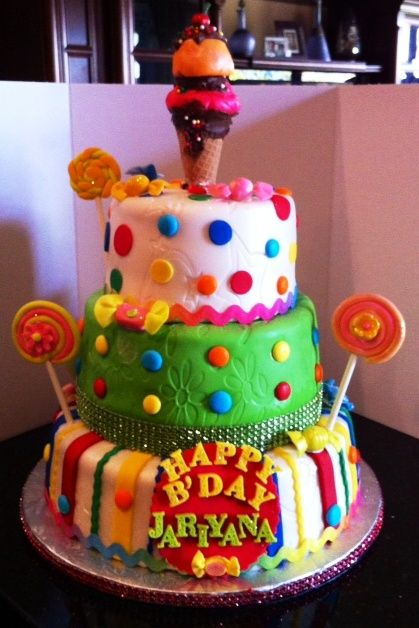 Candycake for a 3year old birthday girl The top tier is vanilla