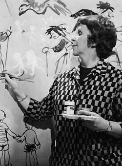 Kylli Koski was a Finnish artist, art educator and art teacher (also completed elementary school teacher degree). She became known as YLE's children's programs' Kylli-täti (Aunt Kylli); she told a fairy tale, and at the same time painted the tale on the paper. *** Birthday 6 July (1906).
