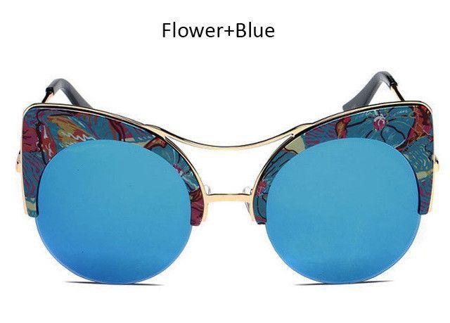 Women Oversized Cat Eye Sunglasses Fashion Brand Designer Big Half Frame Mirror Cateye Sun Glasses L