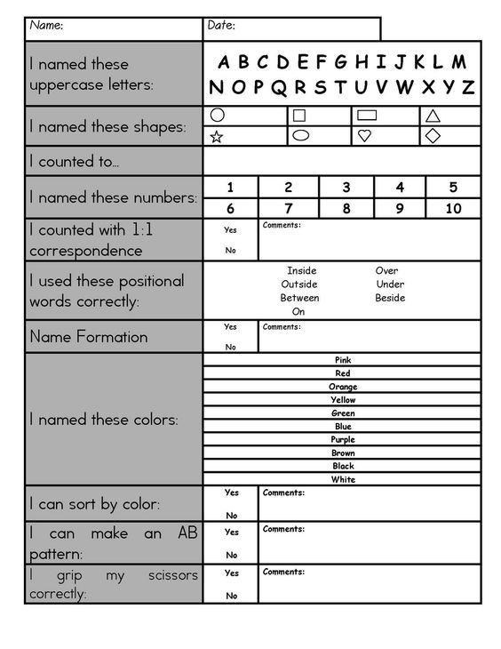 Preschool Assessments Kindergarten Assessment Preschool Assessment Preschool Portfolio
